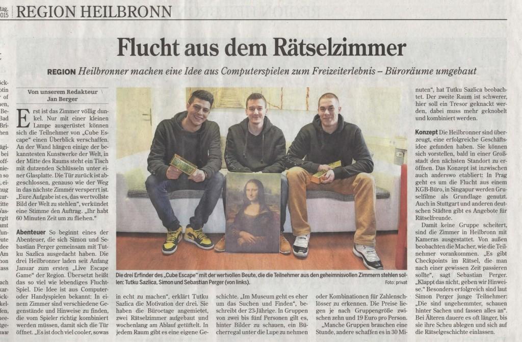 CubeEscape Heilbronner Stimme Zeitungsausschnitt2